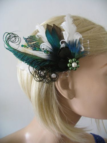 "White Green Teal Duck + Peacock Feathers Fascinator Hair Clip ""Reva"" Woodland Bridal Wedding"